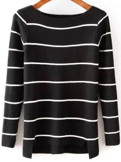 Black Round Neck Striped Slim Knit Sweater