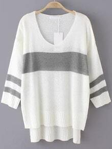 White Grey V Neck Loose Dip Hem Sweater