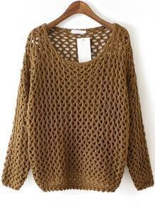 Khaki Round Neck Hollow Chunky Sweater