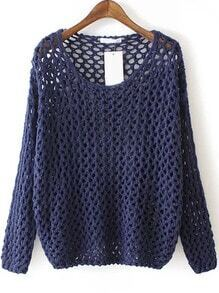 Navy Round Neck Hollow Chunky Sweater