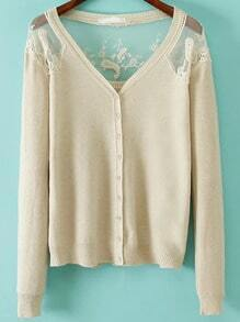 Beige V Neck Lace Buttons Cardigan