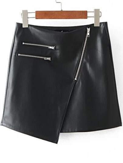 Black Oblique Zipper Asymmetrical Skirt