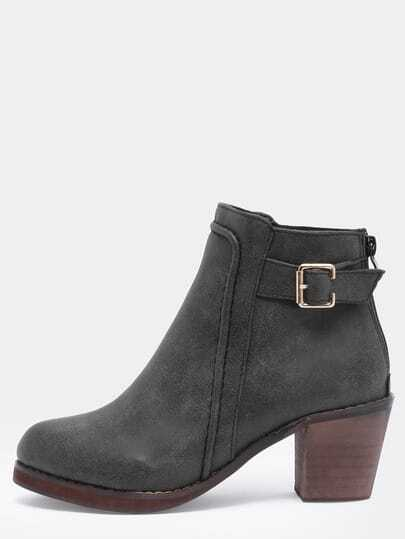 Black Chunky Heel Buckle Strap Boots
