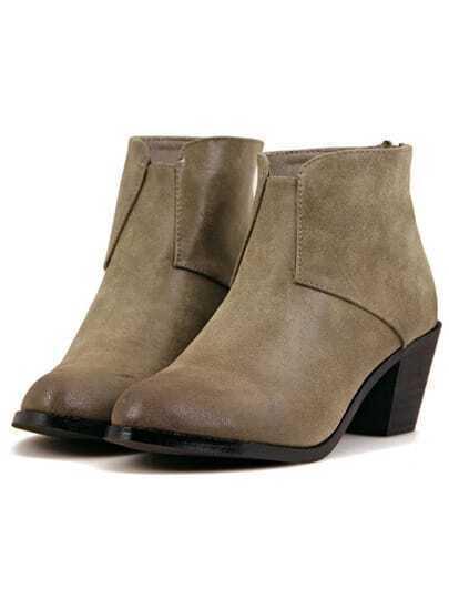 Khaki Vintage Chunky Heel Zipper Boots