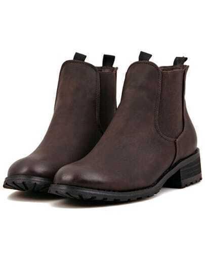Coffee Chunky Heel Round Toe PU Boots