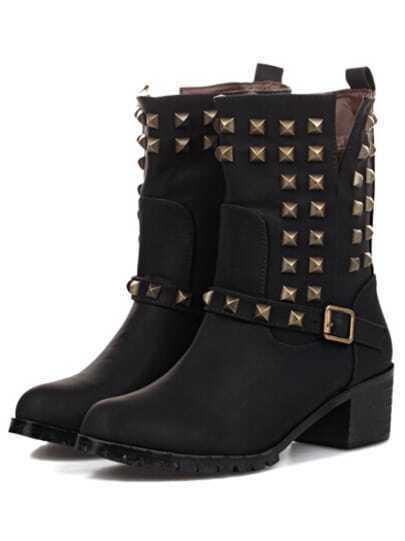 Black Chunky Heel Rivet Buckle Boots