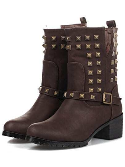 Brown Chunky Heel Rivet Buckle Boots