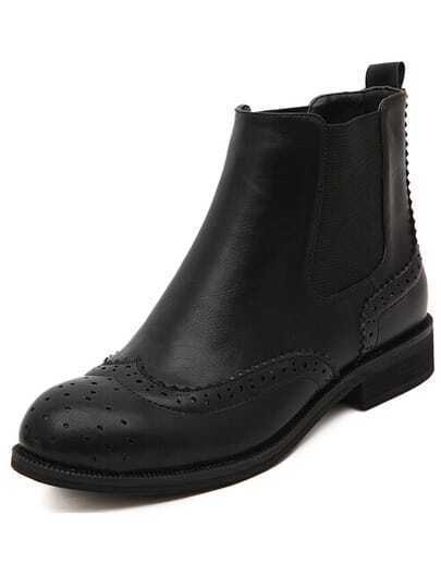 Black Low Heel Vintage PU Boots