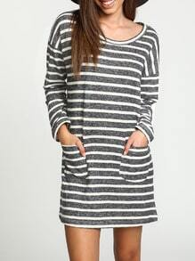 Grey Long Sleeve Striped Pockets Dress
