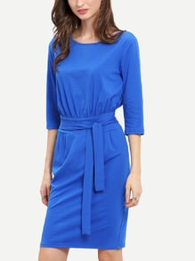 Blue Half Sleeve Belt Dress