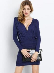 Navy Long Sleeve Deep V Neck Ruched Bodycon Dress