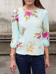 Green Long Sleeve Floral Blouse