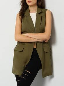 Army Green Sleeveless Pockets Vest