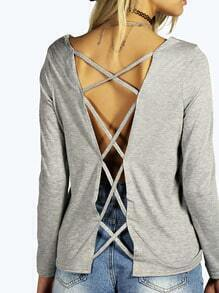 Grey Long Sleeve Backless T-Shirt