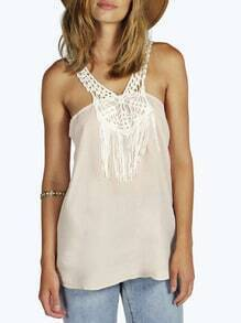 Apricot Sleeveless With Lace Tank Top