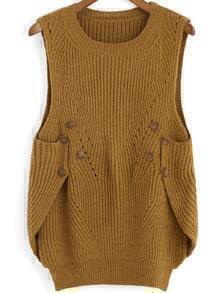 Khaki Round Neck Buttons Knit Sweater