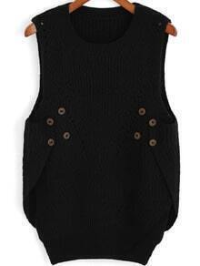 Black Round Neck Buttons Knit Sweater