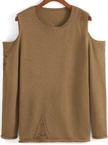 Khaki Off the Shoulder Knit Loose Sweater