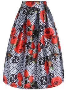 Multicolor High Waist Floral Plaid Skirt