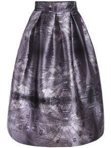 Purple Ferris Wheel Print Flare Skirt