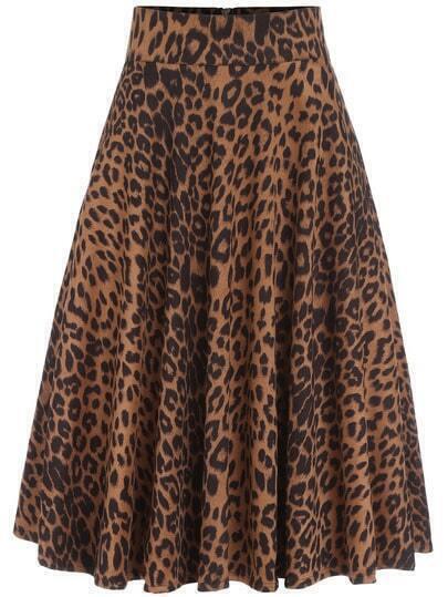 Yellow Leopard Print Pleated Skirt