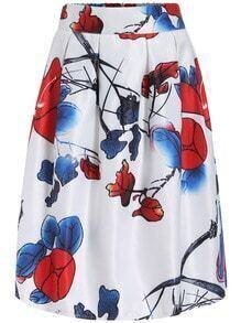 Multicolor Leaves Print Flare Midi Skirt