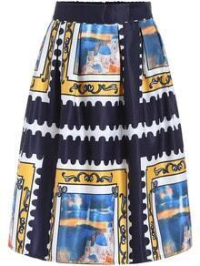 Multicolor Picture Print Midi Skirt