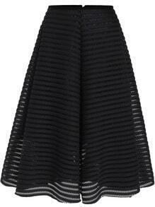 Black Hollow Striped Flare Skirt