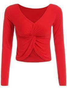 Red V Neck Knotted Crop Top