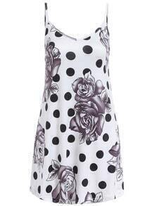 Black White Spaghetti Strap Floral Polka Dot Dress