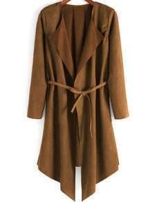 Khaki Long Sleeve Belt Casual Coat