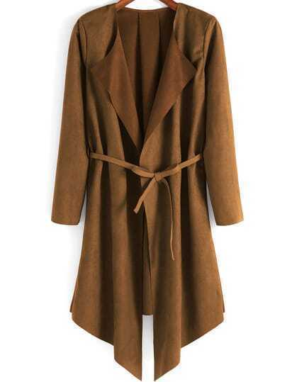 Khaki Long Sleeve Belt Casual Coat
