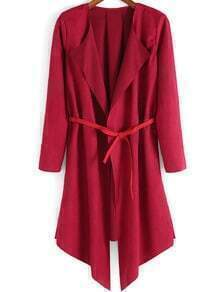 Red Long Sleeve Belt Casual Coat