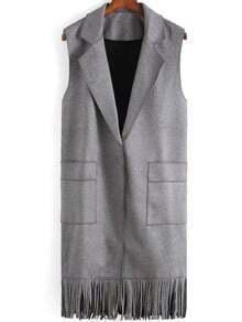 Grey Lapel Pockets Tassel Vest