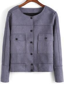 Grey Round Neck Buttons Pockets Jacket