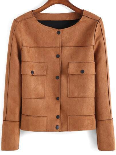 Khaki Round Neck Buttons Pockets Jacket