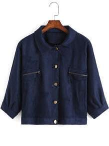Blue Lapel Buttons Zipper Pockets Crop Jacket