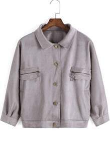 Grey Lapel Buttons Zipper Pockets Crop Jacket