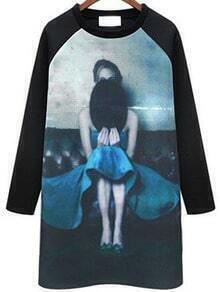 Blue Cartton Print Shift Dress