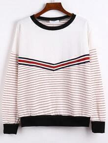 Red Round Neck Striped Sweatshirt