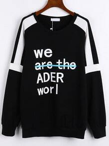 Black Round Neck Letter Print Loose Sweatshirt