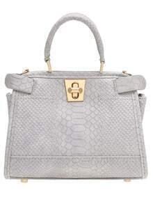 Grey Twist Lock Metallic Embellished PU Tote Bag
