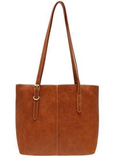 Brown Buckle Zipper PU Shoulder Bag