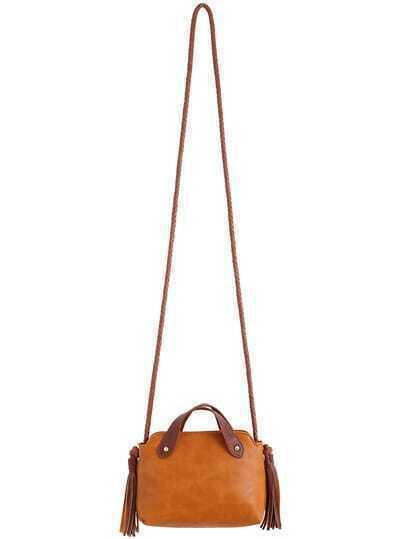 Yellow Tassel Zipper PU Shoulder Bag