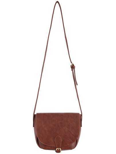 Brown Buckle Zipper PU Shoulder Bag