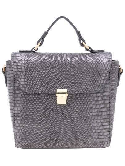Grey Push Lock PU Shoulder Bag