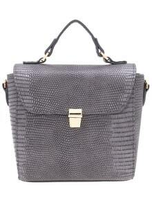 Grey Push Lock PU Shoulder Bag