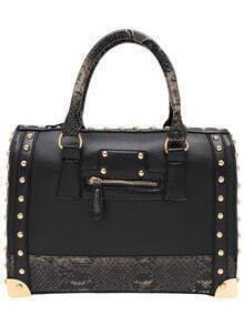 Black Serpentine Studded PU Tote Bag