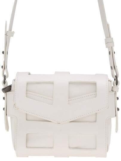 White Magnetic Zipper PU Shoulder Bag