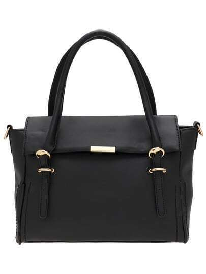 Black Buckle PU Shoulder Bag